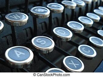 antik írógép, kulcsok