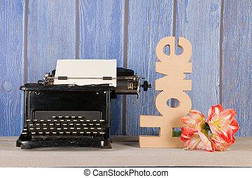 antik írógép, noha, virág