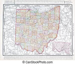 antik, ó, egyesült, usa, térkép, szín, egyesült államok, ohio