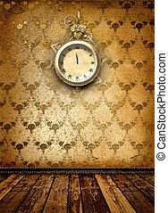 antik, óra arc, noha, befűz, képben látható, közfal, alatt,...
