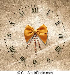 antik, óra, elvont, íj, háttér, arc