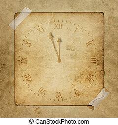 antik, óra, kivonat arc, óra, háttér