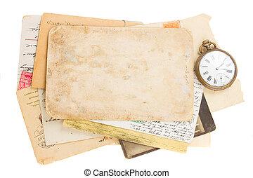 antik öreg, óra, fénykép, hajópapírok, csokor