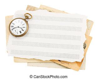 antik öreg, óra, jegyzet, hajópapírok, csokor
