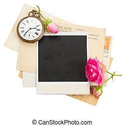 antik öreg, fénykép, óra, agancsrózsák, cölöp, kulcs