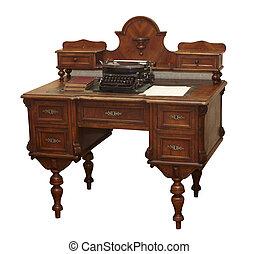 antik öreg, grunge, asztal, berendezés
