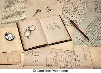 antik öreg, könyv, írás, segédszervek, napló, irodalomtudomány, nyílik, picsa