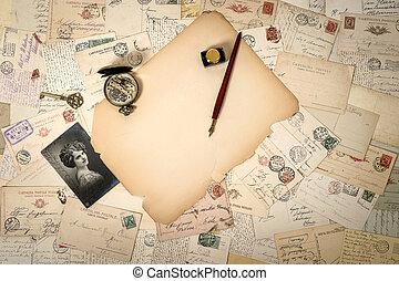 antik öreg, szüret, segédszervek, háttér, hajópapírok, idős, postcards.