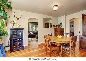 antik öreg, szoba, épület, étkező, interior., berendezés