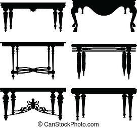 antik, ősi, klasszikus, asztal