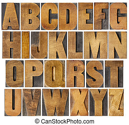 antik, alfabet, sæt, ind, træ, type