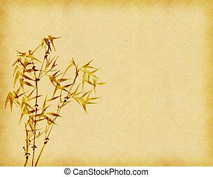 antik alt, bambus, papier, grunge