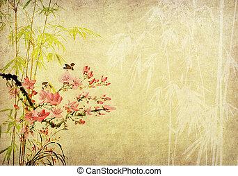 antik alt, chinesisches , weinlese, traditionelle , papier, hintergrund, bambus, gemälde