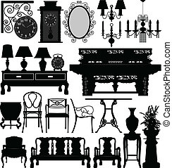 antik alt, möbel, heimhaus