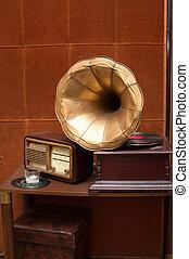 antik, arany-, gramofon, rádió, szarv