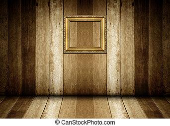 antik, arany, keret, alatt, fából való, szoba