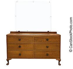 antik, asztal, öltözet, tükör