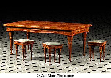 antik, asztal, három, hokedli, 3