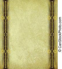 antik, avis, hos, guld, scroll, arbejde, kanter