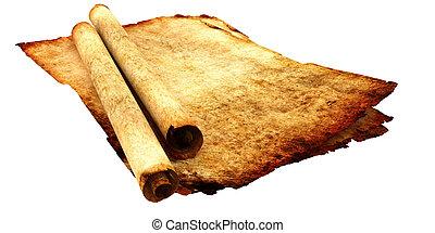 antik, avis, pergament