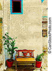 antik, bírói szék, ellen, egy, wall.