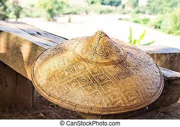 antik, bambusz, kalap