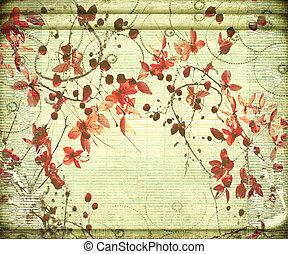 antik, bambusz, virág, háttér