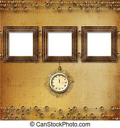 antik, befűz, óra, kivonat arc, háttér