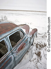 antik bil, pontiac, övergiven
