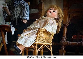 antik, creepy, dukke