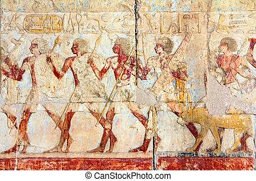 antik egypt, arcmás, és, hieroglifák
