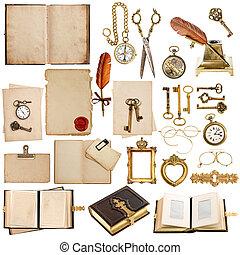antik, előjegyez, óra, keret, kulcs, hajópapírok