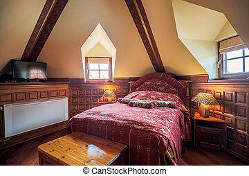 antik, elegáns, ágy, hálószoba