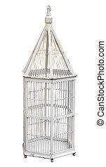 antik, fából való, birdcage