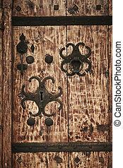 antik, fából való, door., faragott, kulcs kilyukad