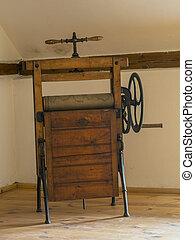 antik, fából való, mángorló, forgókészülék, vas, alatt, attika, szoba