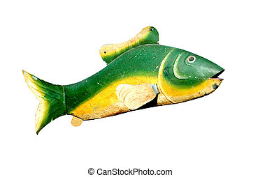antik, fém, fish