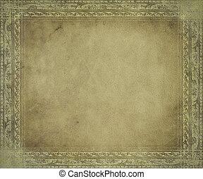 antik, fény, keret, pergament