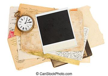 antik, fénykép, cölöp, öreg, óra