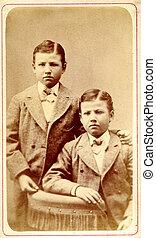 antik, fénykép, ikergyermek, fiú, cirka, 1890