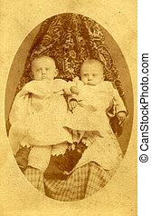 antik, fénykép, két, young gyermekek, cirka, 1890