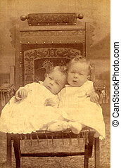 antik, fénykép, közül, két gyerek, cirka, 1890
