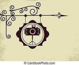 antik, fénykép, utca, készlet cégtábla