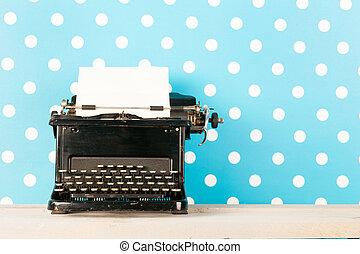 antik, fekete, írógép