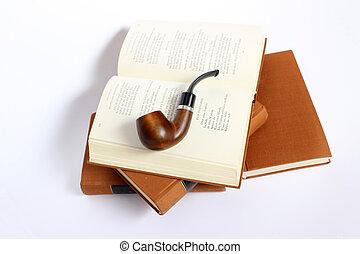 antik, feláll., darabka, kazalba rakott, fénykép, elszigetelt, pipa, előjegyez, út, included, dohányzó