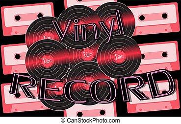 antik, felírás, vektor, öreg, hanglemez, szüret, cassettes., vinyl, 80, csípőre szabott, 90, háttér, 60, 70, audio, zenés, retro