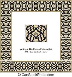 antik, flise, ramme, mønster, sæt, oval, sawtooth, blomst