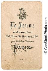 antik, francia, étlapnévjegy, ellen-, visite., szüret, névjegykártya