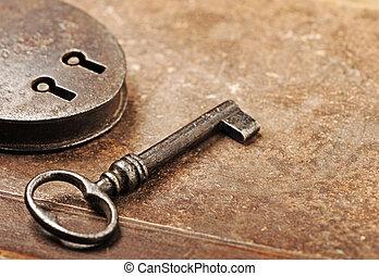 antik, hængelås, hos, nøgle