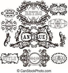 antik, húzott, fr, gyűjtés, kéz